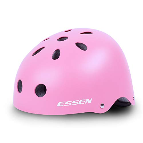 Essen Adjustable Skateboard Helmet CPSC Certified Impact Resistance Ventilation Multi Sport Cycling Helmet for Inline Roller Skate for Kids/Youth/Adult Bicyle Skateboarding for Pink/Blue/red/White co ()