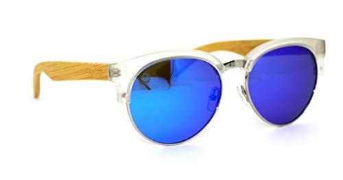 Óculos De Sol De Acetato Com Metal E Bambu Lolla White Blue, MafiawooD