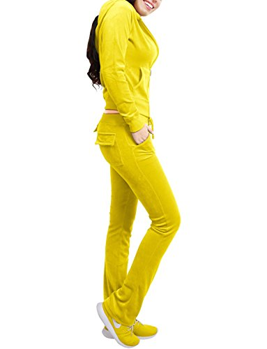 NE PEOPLE Womens Casual Basic Velour 2 Pieces Zip Up Hoodie & Sweatpants Tracksuit 2 Piece Set S-3XL