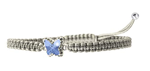 ChicOpick Butterfly Swarovski Bracelet with Crystal Line and Handmade Macrame Around, in, Butterfly Size is 10mm or (0.39''), Easily Fit for Any Sizes for Women (Sapphire)