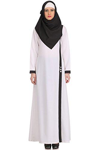 MyBatua Muslim White Täglich & Formal Wear Kashibo Abaya Burqa Maxi Kleid AY-518