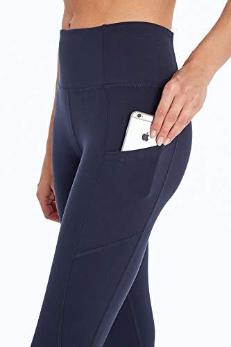 Jessica Simpson Sportswear Tummy Control Pocket Capri Legging, Midnight Blue, Large