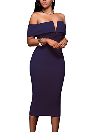 AlvaQ Women's Sexy V Neck Off The Shoulder Evening Bodycon Club Midi Dress Dark Blue (Best Shapewear For Bodycon Dress)