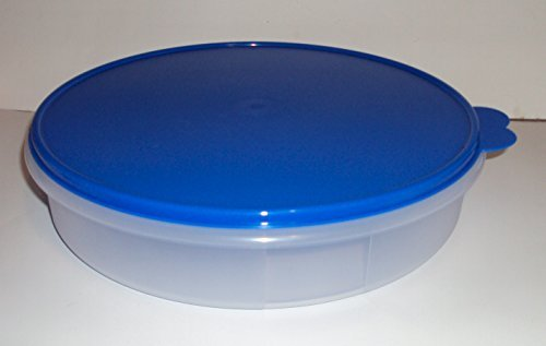 Tupperware Round Pie Taker Cupcake Keeper Storage Clear Container with Blue Seal