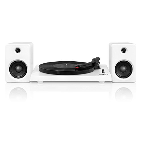 - Victrola Modern 3-Speed Bluetooth Turntable with 50 Watt Speakers, White Piano Finish