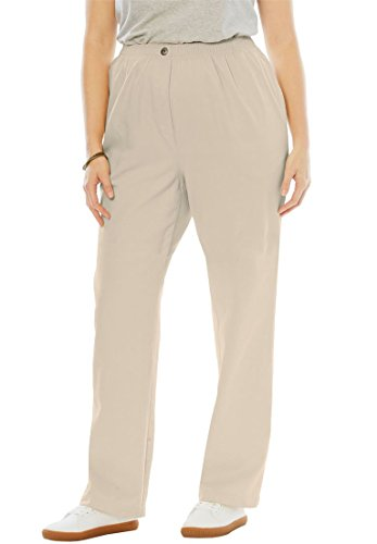 Woman Within Women's Plus Size Petite Comfort Jeans With Elastic Waist Natural Khaki,18 WP (Natural Waist Jeans)