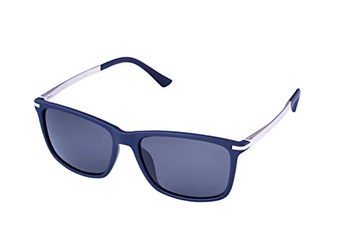 (13Fifty Nashville Polarized Men's Sunglasses Matte Dark Blue Frame, Smoked Polarized Lenses)