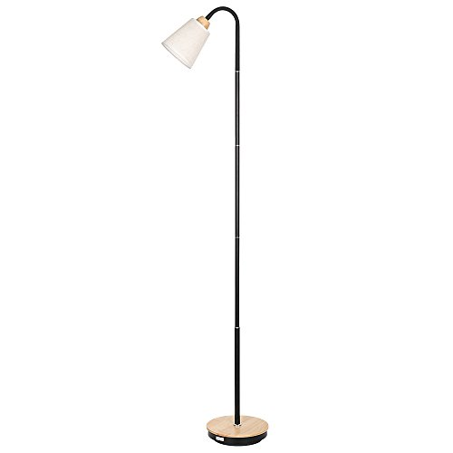 HAITRAL Adjustable Task Floor Lamp - Modern Standing Reading Lamp with 360° Adjustable Gooseneck, Reading Light Lamp for Bedroom, Office, Living Room White (HT-TH06-21S)