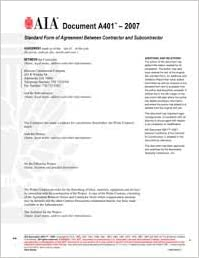 A401 Standard Form Of Agreement Between Contractor