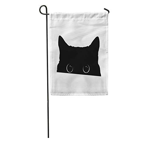 Semtomn Garden Flag Halloween Cute Black Cat Face Big Eyes Peeking Silhouette Drawing Home Yard House Decor Barnner Outdoor Stand 28x40 Inches Flag -