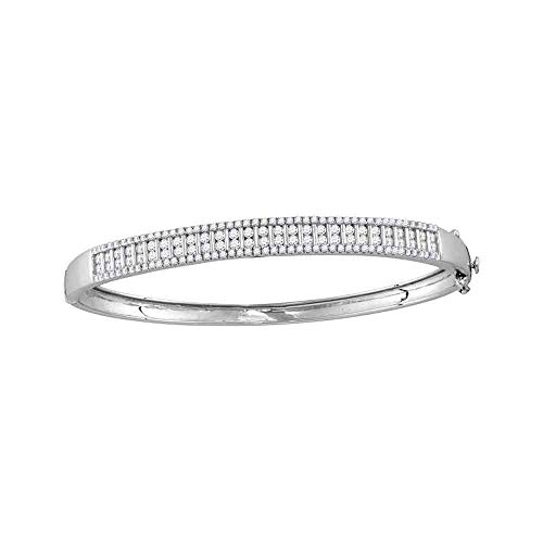 FB Jewels Solid 14kt White Gold Womens Round Diamond Bangle Bracelet 2.00 ()