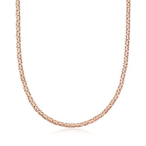 Ross-Simons 18kt Rose Gold Over Sterling Silver Flat Byzantine Necklace
