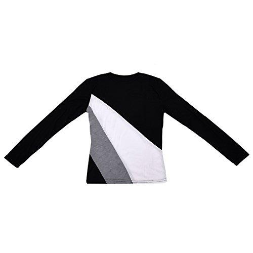 Frauen T-Shirt - TOOGOO(R) Frauen T-Shirt mit Rundhalsausschnitt langaermelig grundieren Hemd beilaeufige Oberteile Schwarz XXL