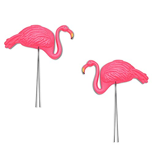 Large Bright Pink Flamingo Yard Lawn Decoration Ornament Garden Stakes - 2 Piece Set
