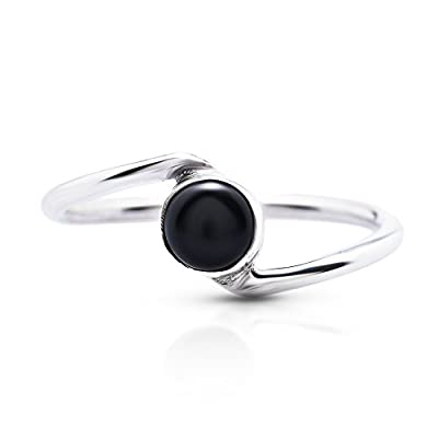 nice Black Onyx Delicate Ring 925 Sterling Silver Vintage Boho Chic US Size 5 6 7 8 9 for sale