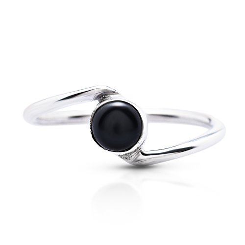 Koral Jewelry Black Onyx Delicate Ring 925 Sterling Silver Vintage Boho Chic US Size 5 6 7 8 9 (9)