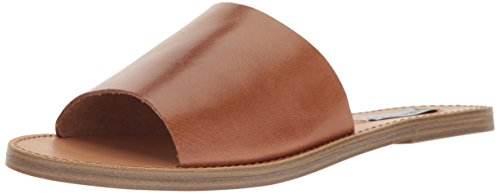 Steve Madden Women's Grace Flat Sandal, Cognac Leather, 7.5 M US - Leather Womens Sandals