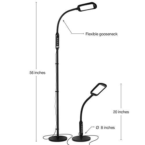 Brightech Litespan 2 in 1 Floor & Desk Lamp, LED - Bright Craft & Office Reading Lamp - Natural Daylight Esthetician Light for Lash Extensions - Gooseneck Pole Lamp for Precise Tasks - Black