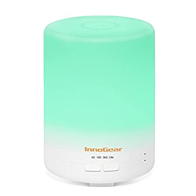 InnoGear 2nd Generation 300ml Aromatherapy Essential Oil Diffuser Aroma Cool Mist Humidifier with Timer Waterless Auto Shut-off and 14 Color LED Night Lights for Home Office Baby