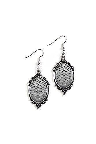 [Silver Dragon Scale Eggs 18x25mm Cameo Glass Silver Filigree Earrings] (Hamburger Halloween Costume Baby)