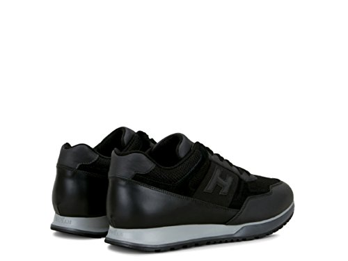 Hogan H321 Uomo HXM3210Y940HIR246L Sneakers Nero Pelle Tela Scarpa Allacciata Nero