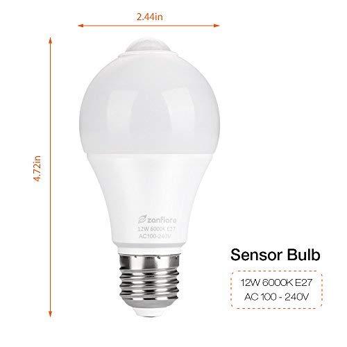 Amazon.com: Motion Sensor Light Bulb, Zanflare 12W E27 Smart PIR Sensor LED Bulbs, Cold White 6000K, 850LM, Automatic LED Light Bulb for Front Door Porch ...