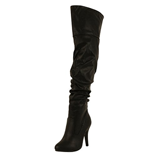 Forever Link Womens Focus-33 Fashion Stylish Pull On Over Knee High Sexy Boots,Black,7