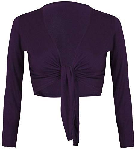 Donna Eshoppingwarehouse Unita Cardigan Manica Tinta Lunga Purple FwwaZXqr