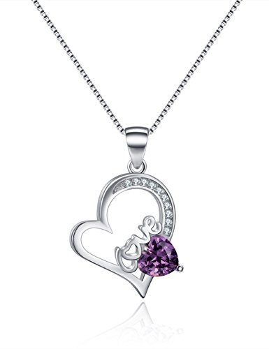Created February Birthstone Necklace Amethyst Love Heart Necklaces Sterling Silver Necklaces Valentine