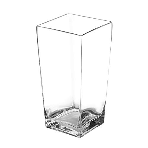 Royal Imports Flower Glass Vase Decorative Centerpiece for Home or Wedding Tall Square Tapered Shape, 10