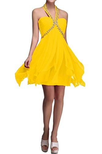 sunvary a-line Halter cuentas gasa novia Vestidos de damas de honor Homecoming Fiesta amarillo