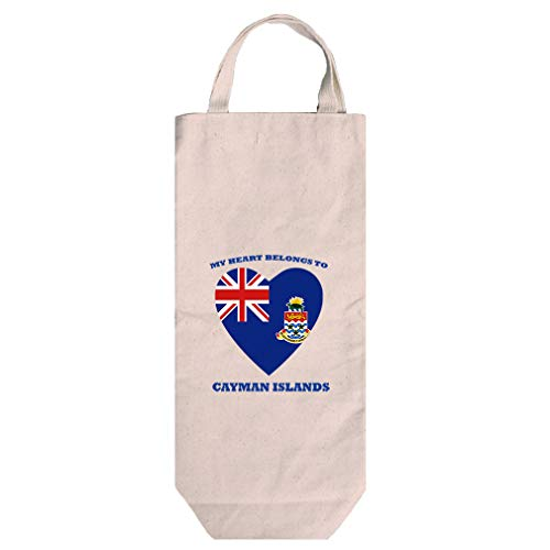 - Love Soccer Cayman Islands Style 1 Cotton Canvas Wine Bag Tote With Handles