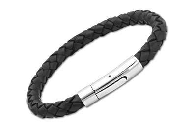 c34c6727c02 Unique   Co. Men's 21cm Black Leather Bracelet with Stainless Steel ...