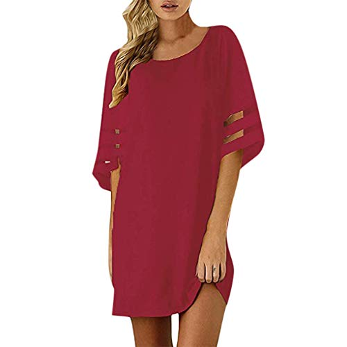 TOOPOOT Summer Dress for Women, Chiffon Panel Flare Solid Splice Mesh Party Club Beach Mini Dress Red ()