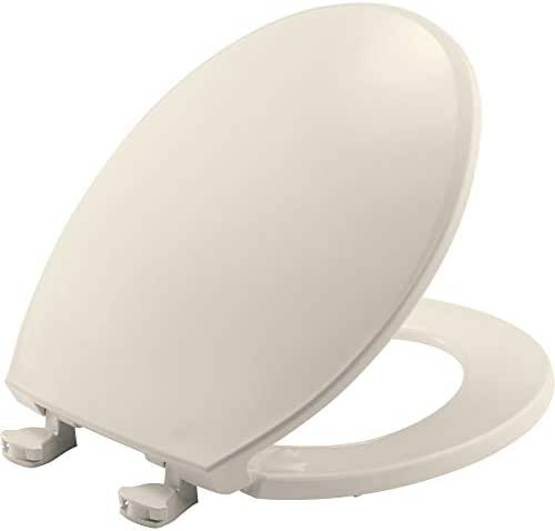 BEMIS 800EC 346 Toilet Seat with Easy Clean & Change Hinges, Round, Biscuit/Linen