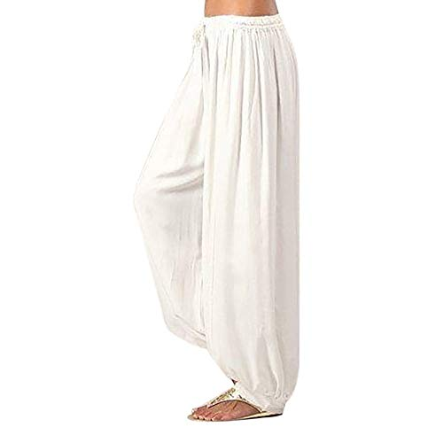 (QueenMMWomen Pants Women Plus Size Solid Color Casual Loose Harem Pants Yoga Pants Women White)