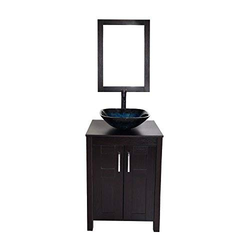 Bathroom Vanities 24 Inch With Sink Wall Mounted Eco Pvc Sink Cabinet Vanity Organizers With Counter Top Glass Vessel Sink Vanity Mirror And 1 5 Gpm Faucet Combo Vanity Ocean Blue Sink Buy Online