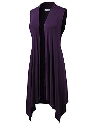 H2H Womens Casual Open Front Draped Sleeveless Comfy Cardigan PURPLE US 3XL/Asia 3XL (CWOCASL01) - Draped Sleeveless