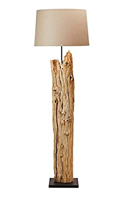 """O'THENTIQUE Rustic Driftwood Floor Lamp 69""""   Reclaimed Natural Finished; Solid Sustainable Distressed Wood   Linen Shade Perfect Standing Lamp for Bedroom, Living Room, Beach House Decoration"""