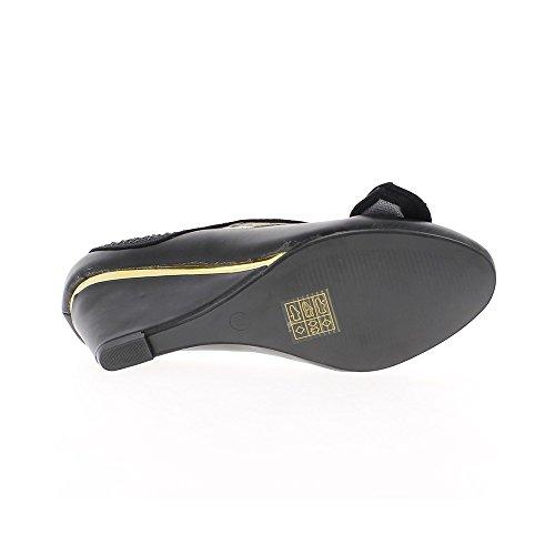 Compensées noires aspect cuir à talon de 7cm avec noeud et bride strassés