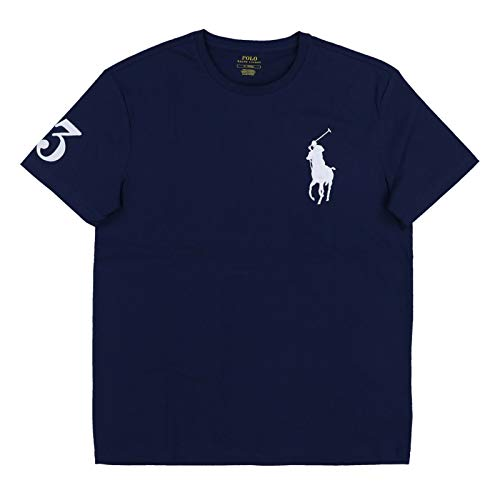 (POLO Ralph Lauren Mens Crew Neck Big Pony T-Shirt (Small, Navy) )