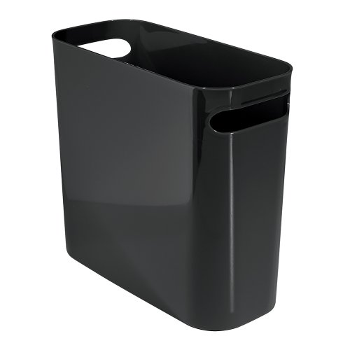 InterDesign Una Rectangular Trash Can with Handles, Waste Basket Garbage Can for Bathroom, Bedroom, Home Office, Dorm, College, 10-Inch, Black