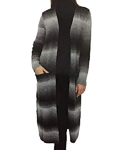 Joseph A. Womens Long Length Knitted Striped Ombre Sweater (Medium, Grey Ombre)