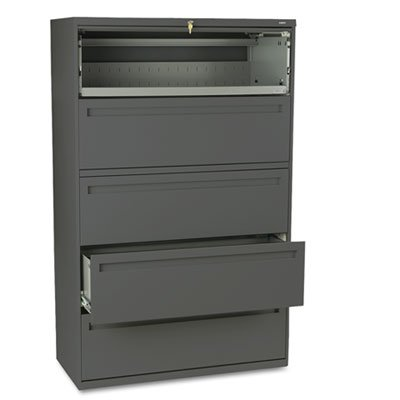 HON COMPANY * 700 Series Five-Drawer Lateral File w/Roll-Out & Posting Shelves, 42w, Charcoal, Sold as 1 Each