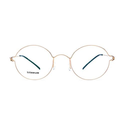 FONEX Men Memory Titanium Alloy Round Glasses Frame Screwless Eyewear 98607 (gold, - Screwless Eyewear