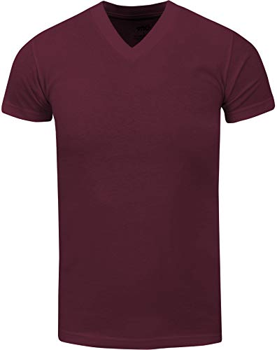 VNS25_ Active Mens Premium Cotton Heavy Weight V Neck Basic T Shirt Burgundy by Shaka Wear (Image #1)