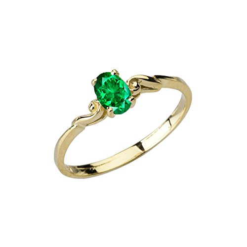 Dainty 10k Yellow Gold Genuine Emerald Swirled Engagement/Promise Solitaire Ring (Size 5) - Gold Genuine Emerald Ring