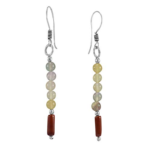 Handmade Jewelry Manufacturer Round Beaded Citrine & Jasper, 925 Silver Plated, Wire-wrapped Dangle Earring Jaipur Rajasthan India