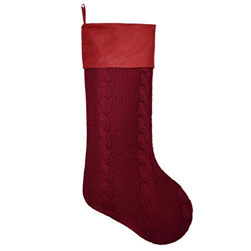 Gireshome Elegant Dark Red Burgundy Chunky Cable Knit Body,Suede Cuff Christmas Stockings,Xmas Tree Decor Ornament- 10