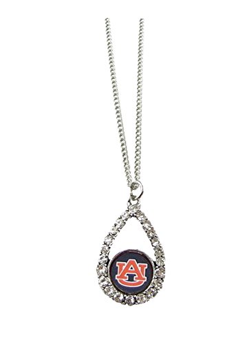 Auburn Tigers Blue Teardrop Crystal Silver Necklace Jewelry Licensed AU
